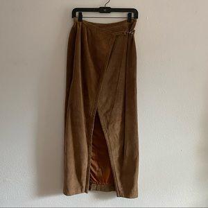 Banana Republic Genuine Leather Suede Maxi Skirt